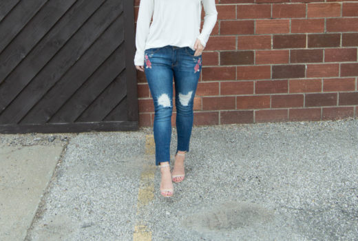 Embroidered Jeans + Lace Up Top - LuLus