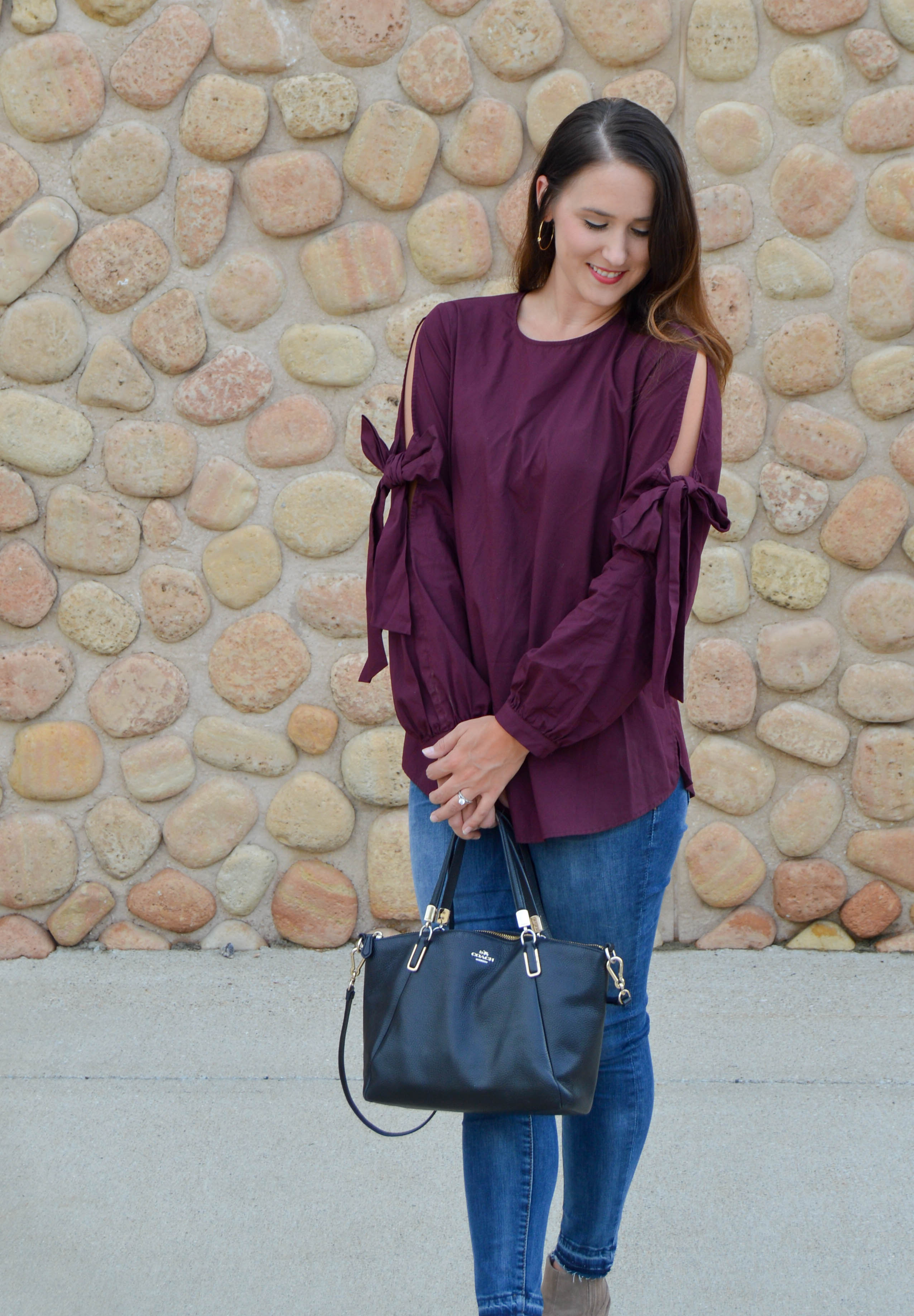 bow sleeve top - women's fall fashion