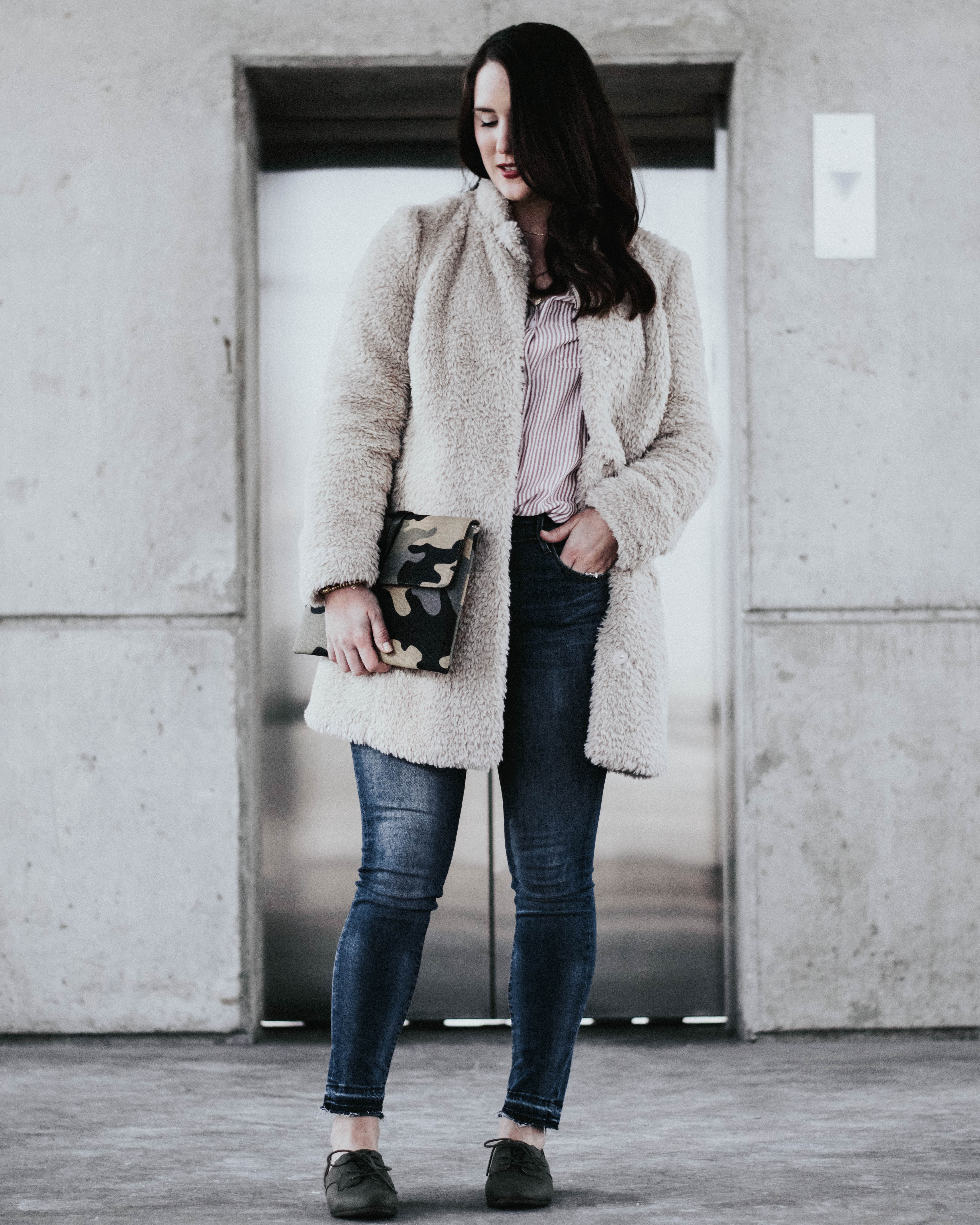 faux fur jacket - spring transition outfits