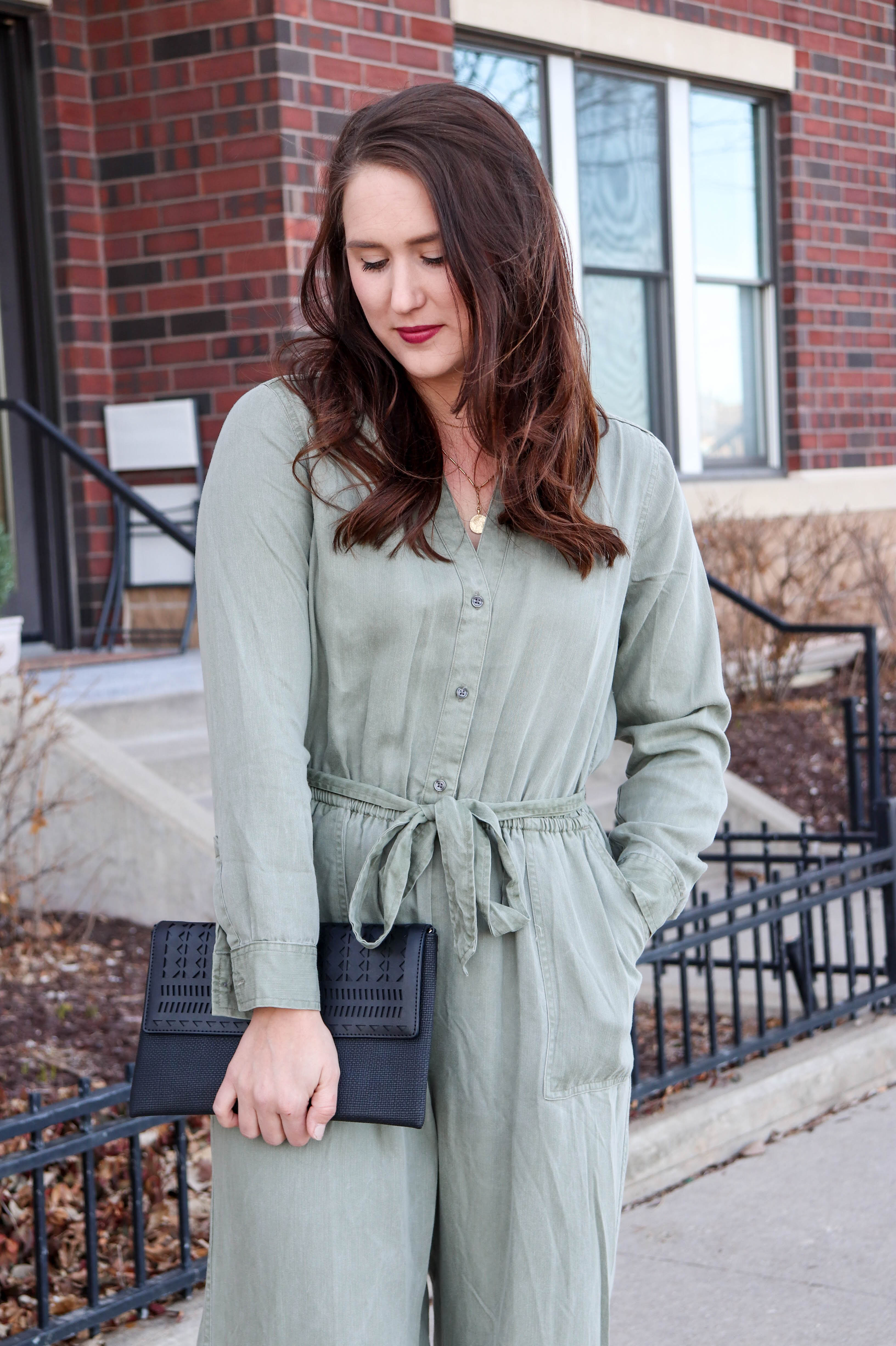 green utility jumpsuit - old navy